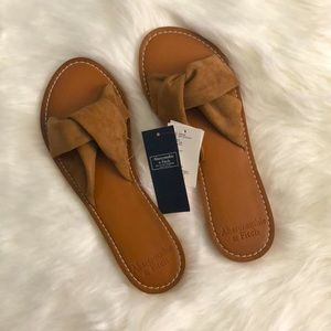 Abercrombie Twist Slide Sandals Brown Size 7/8